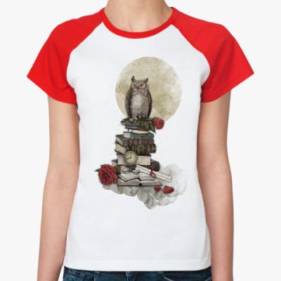 Женская футболка реглан Мудрая сова и книги