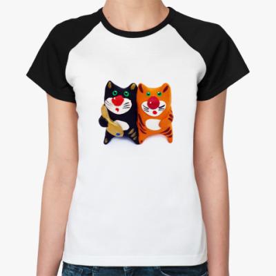Женская футболка реглан Два кота