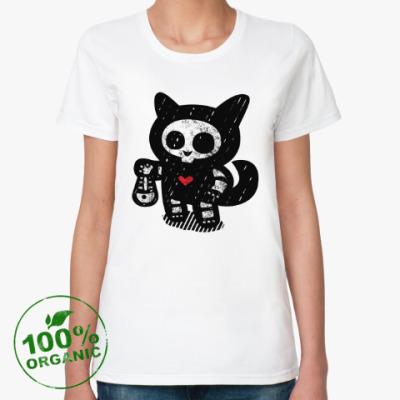 Женская футболка из органик-хлопка Кот рыболов