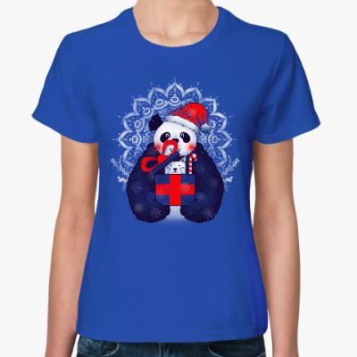 Женская футболка Новогодняя панда и кот