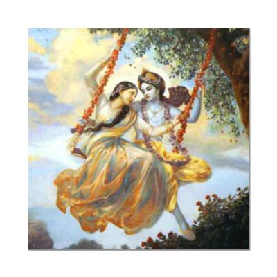 Наклейка (стикер) Радха и Кришна на качелях