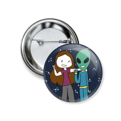 Значок 37мм Привет из космоса (Я и Инопланетянин)