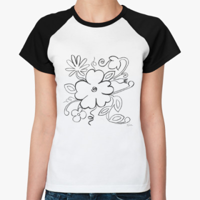 Женская футболка реглан графические цветы