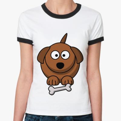 Женская футболка Ringer-T Собачка с косточкой