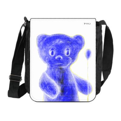 Сумка на плечо (мини-планшет) Синий Мишка с воздушным шариком