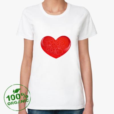 Женская футболка из органик-хлопка Стеклянное сердце