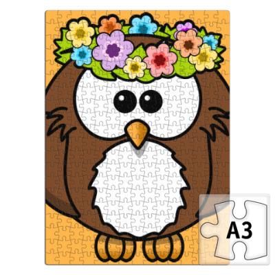 Пазл Сова с цветами