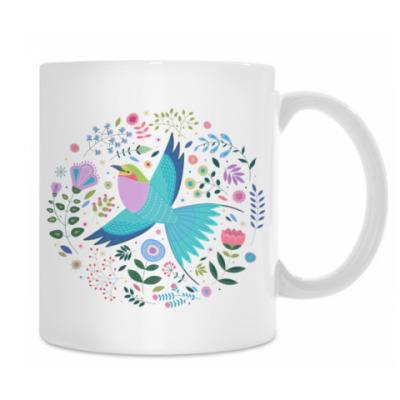 Птица среди цветов