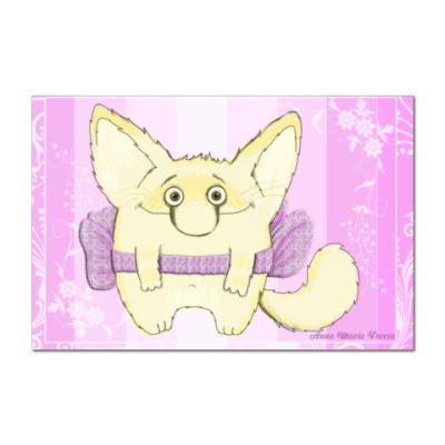 Наклейка (стикер) Кот с бантиком