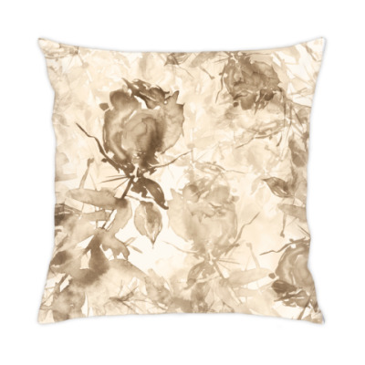 Подушка Винтажная чайная роза, цветочный всплеск акварели