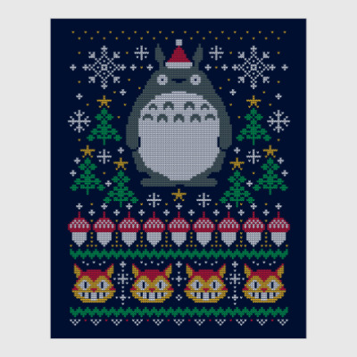Постер Новогодний Тоторо и кот Totoro