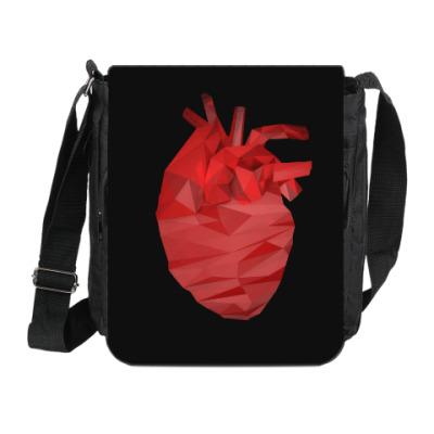Сумка на плечо (мини-планшет) Сердце 3D