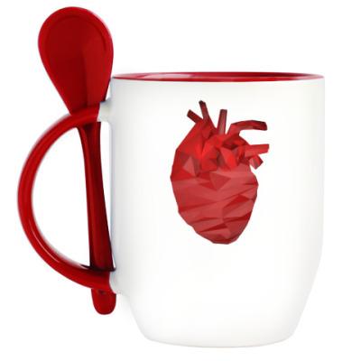 Кружка с ложкой Сердце 3D