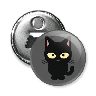 Магнит-открывашка Черный Котик