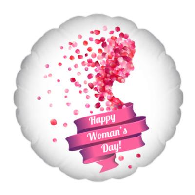 Подушка Силуэт женщины из лепестков роз