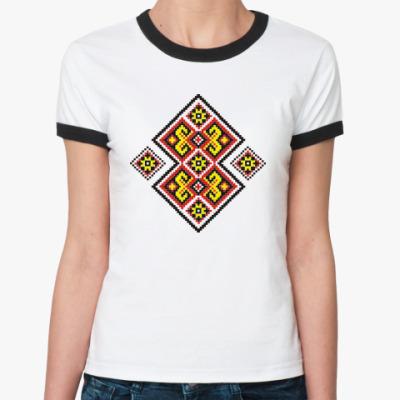 Женская футболка Ringer-T Украинский орнамент