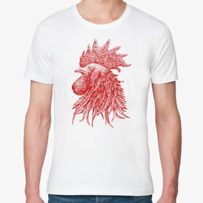 Футболка из органик-хлопка Красный петух символ Года