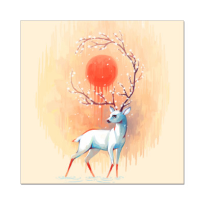 Наклейка (стикер) Дух весны белый олень