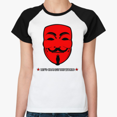 Женская футболка реглан ' Анонимус'