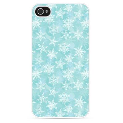 Чехол для iPhone новогодние снежинки