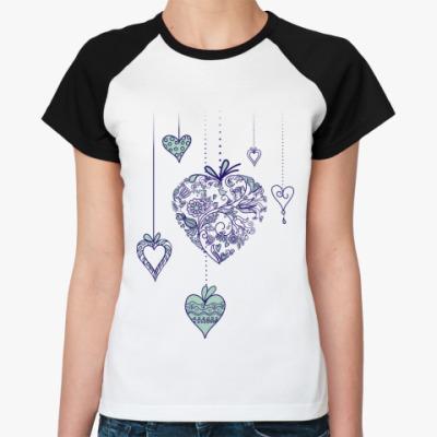 Женская футболка реглан heart