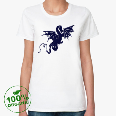 Женская футболка из органик-хлопка дракон