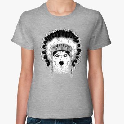 Женская футболка Хаски вождь