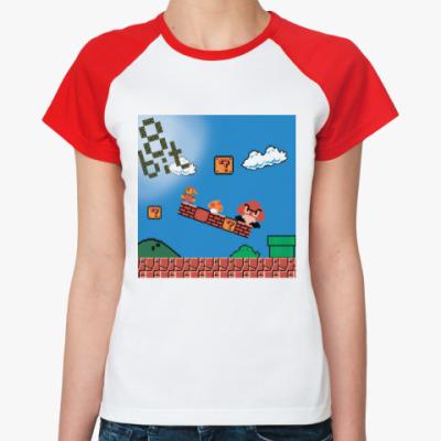 Женская футболка реглан mario 8 bit
