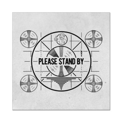 Наклейка (стикер) Fallout. Please stand by