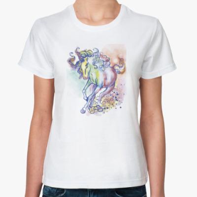 Классическая футболка Акварельная лошадь