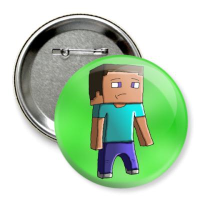 Значок 75мм Minecraft Steve