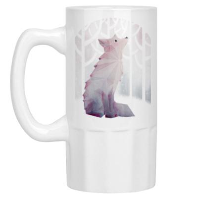 Пивная кружка Зимний Лис в снегу Winter fox