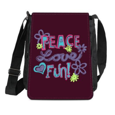 Сумка-планшет Мир, Любовь, Веселье!