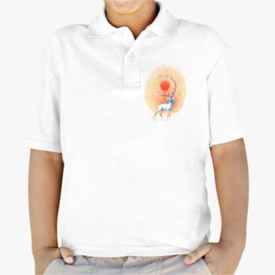 Детская рубашка поло Дух весны белый олень