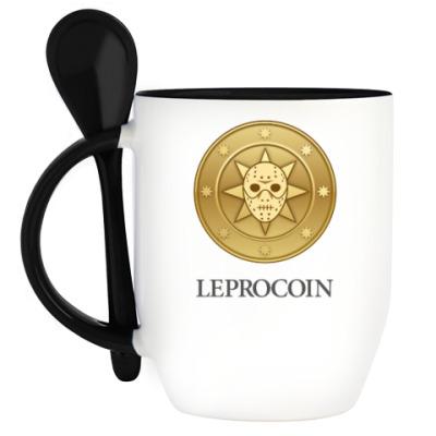 Кружка с ложкой Leprocoin