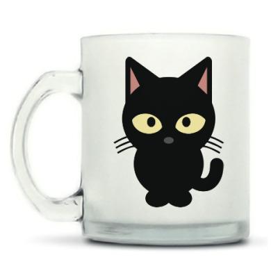 Кружка матовая Черный Котик