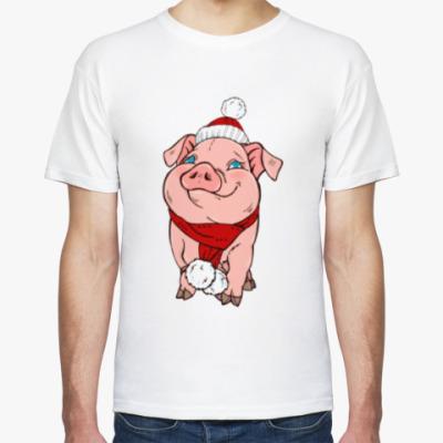 Футболка Новогодняя свинка в шапочке