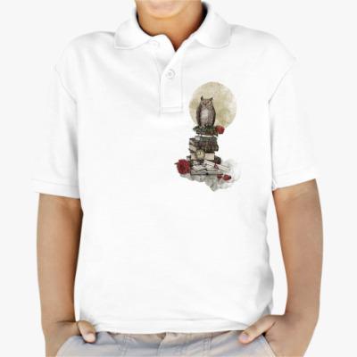 Детская рубашка поло Мудрая сова и книги