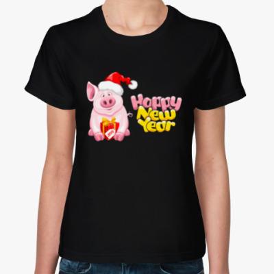 Женская футболка Символ 2019 года свинья