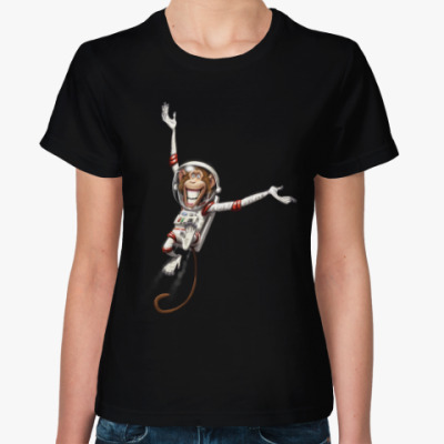 Женская футболка Обезьянка Космонавт