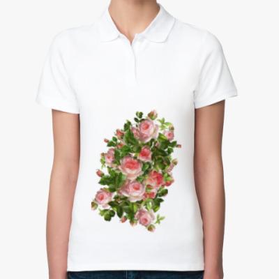 Женская рубашка поло Розовый букет