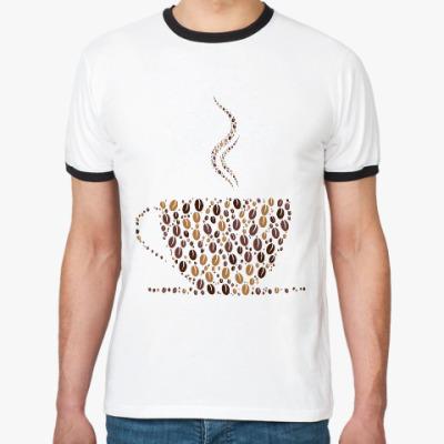 Футболка Ringer-T Кофе из кофейных зерен