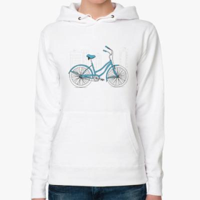 Женская толстовка худи Велосипед