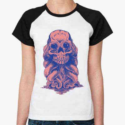 Женская футболка реглан Череп со щупальцами