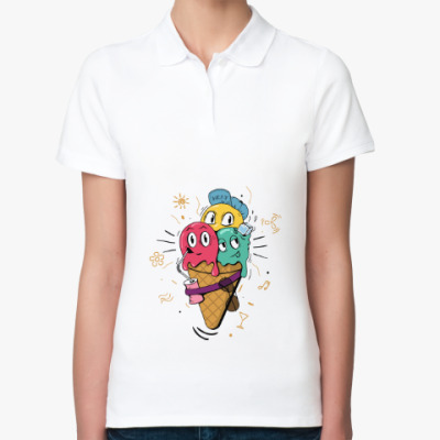 Женская рубашка поло Смешные шарики мороженного