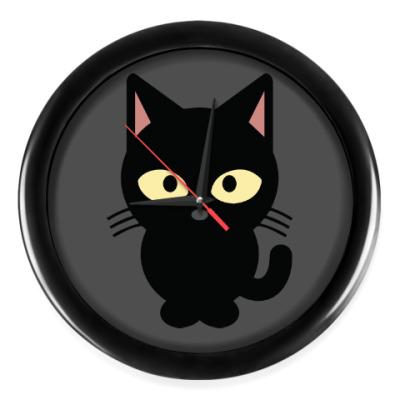 Настенные часы Черный Котик