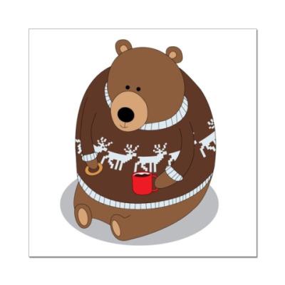 Наклейка (стикер) Медведь с кружкой