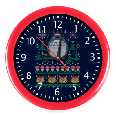 Настенные часы Новогодний Тоторо и кот Totoro