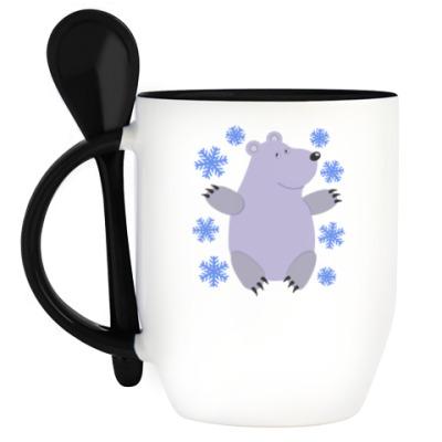 Кружка с ложкой Белый мишка