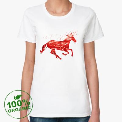 Женская футболка из органик-хлопка Рубиновый Единорог